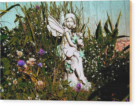 Garden Angel Wood Print by Mavis Reid Nugent