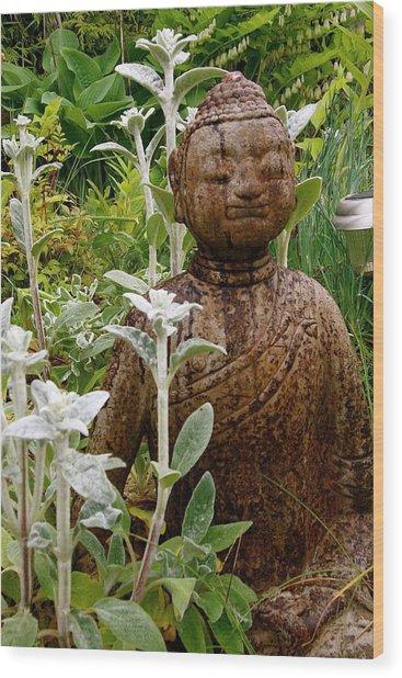 Garden Buddha Wood Print