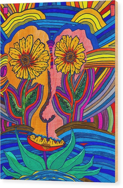 Garden Face - Lotus Pond - Daisy Eyes Wood Print