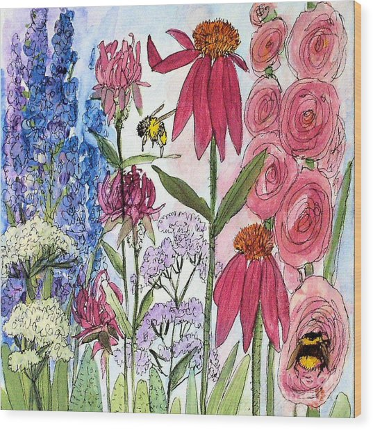 Garden Flower And Bees Wood Print