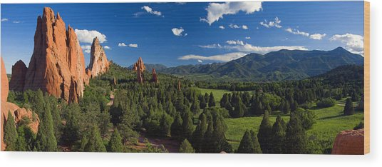 Garden Of The Gods Panorama At It's Best Wood Print