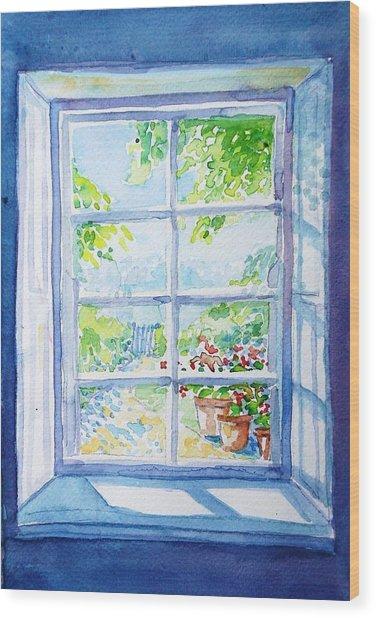 Garden Path Through A Summer Window  Wood Print