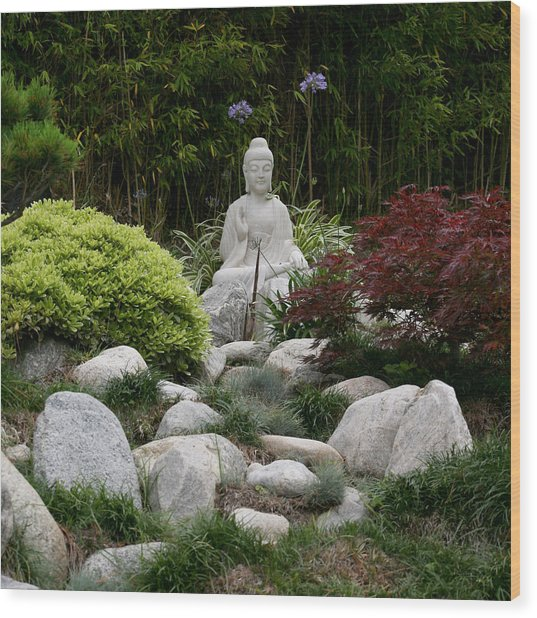 Garden Statue Wood Print