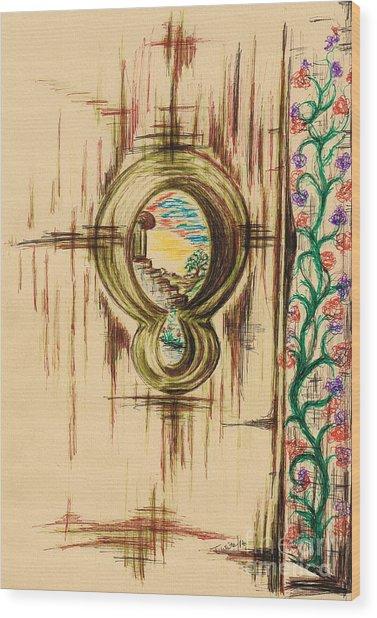 Garden Through The Key Hole Wood Print