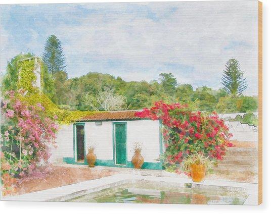 Garden Watercolor Painting Wood Print