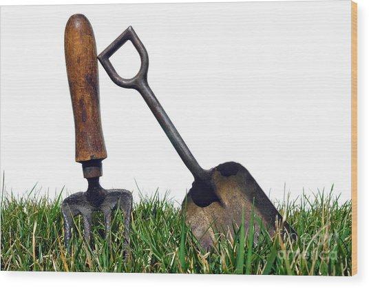 Gardening Tools Wood Print