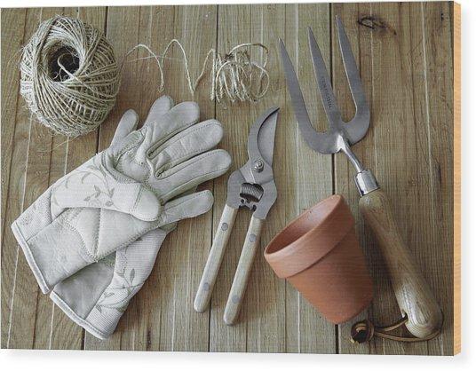Gardening Tools, Still Life Wood Print