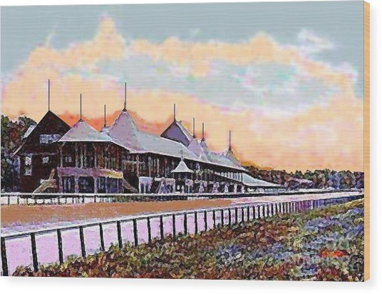 Gardens And Grandstand At Saratoga Racetrack In 1908 Wood Print