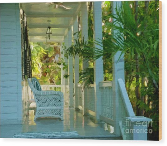 Gardens Porch In Key West Wood Print