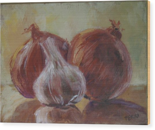 Garlic And Onions Wood Print by Terri Messinger