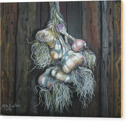 Garlic Hanging To Dry Wood Print
