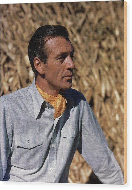 Gary Cooper In Profile Wood Print by Alexander Paal