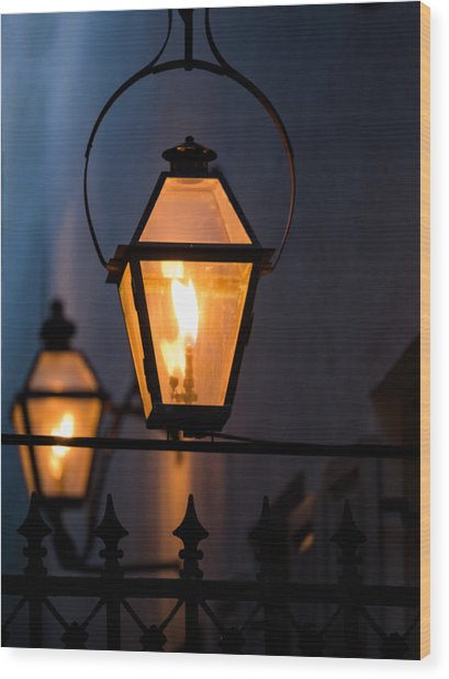 Gas Lights Wood Print