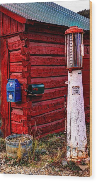 Gas Pump Post Office Wood Print
