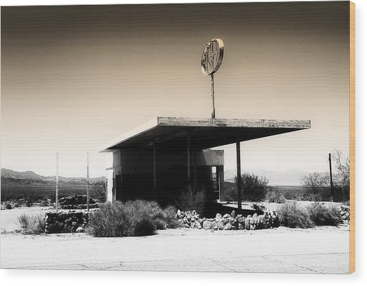 Gas Station Wood Print