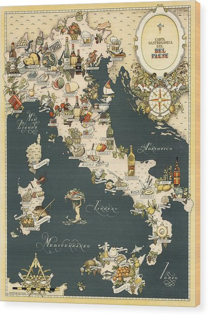 Gastronomic Map Of Italy 1949 Wood Print