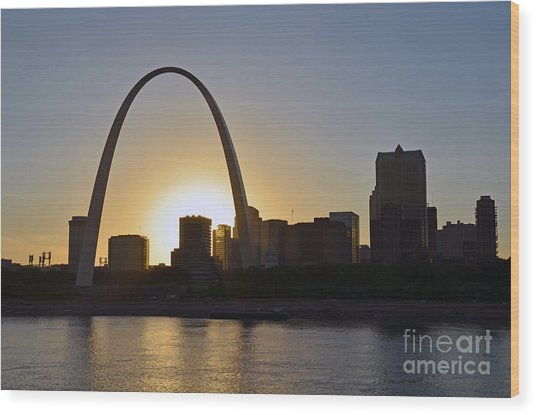 Gateway Arch Sunset Wood Print