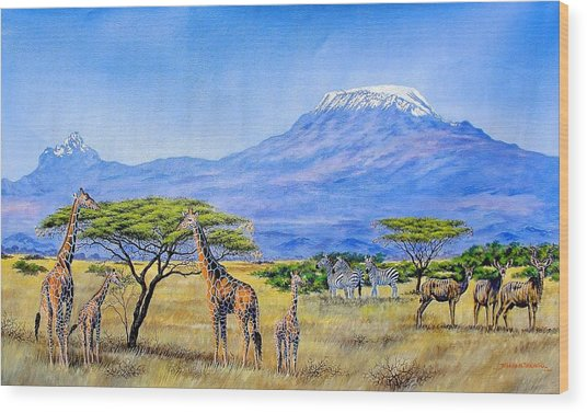Gathering At Mount Kilimanjaro Wood Print