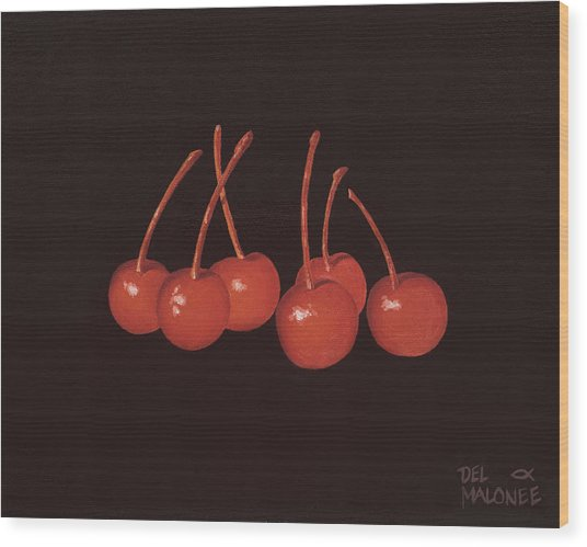 Gathering Of Cherries Wood Print