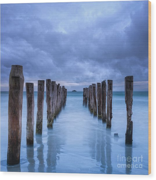 Gathering Storm Clouds Over Old Jetty Wood Print