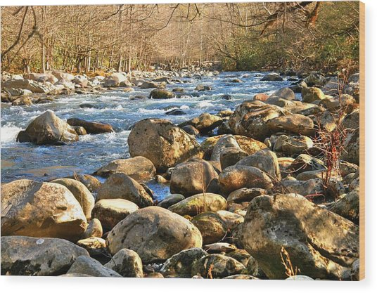 Gatlinberg River Wood Print