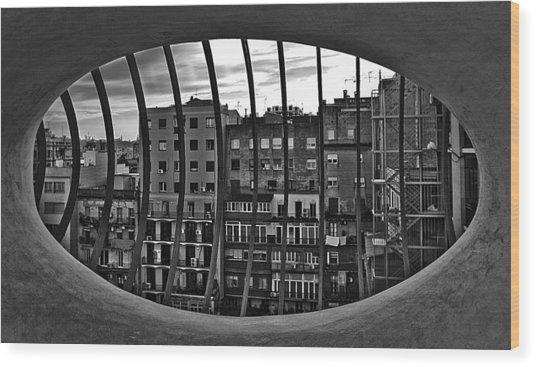 Gaudi's View Wood Print