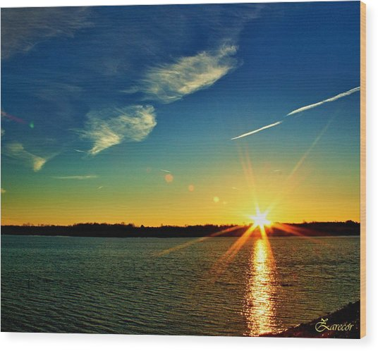 Gc Lake Sunrise Wood Print
