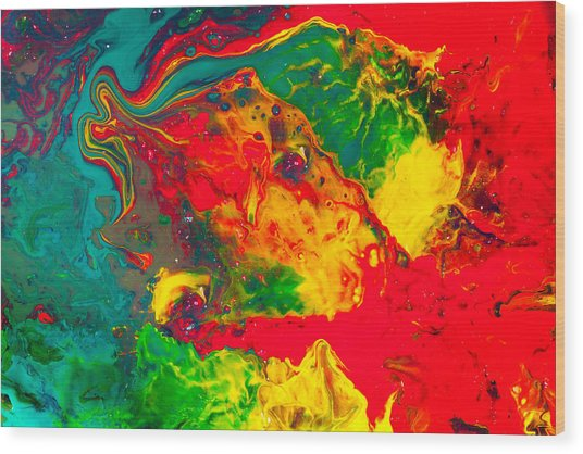 Gecko - Colorful Abstract Painting Wood Print