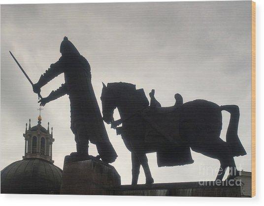 Gediminas Statue In Vilnius At Sunset Wood Print