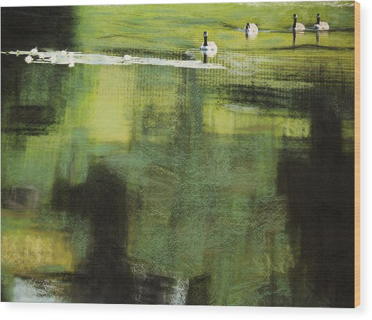 Geese On Pond Wood Print by Andy Mars