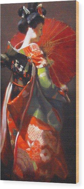 Geisha Girl With Red Umbrella Wood Print by Takayuki Harada