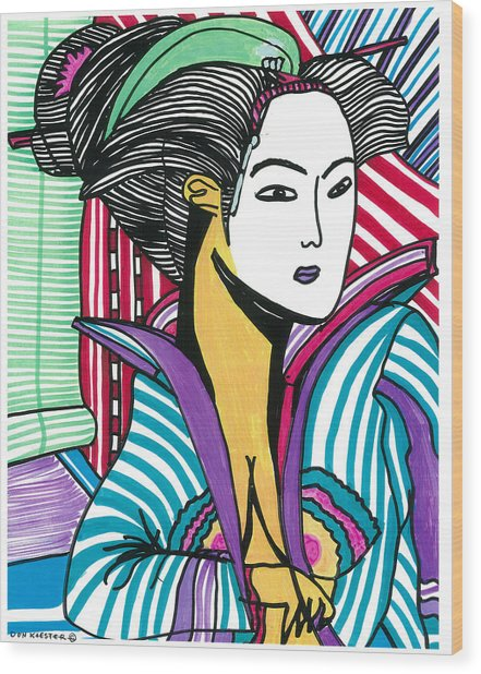 Geisha Green And Blue Wood Print