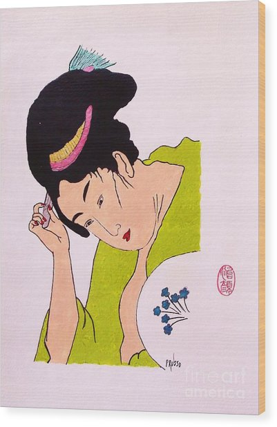 Geisha Hair Dressing Wood Print by Roberto Prusso