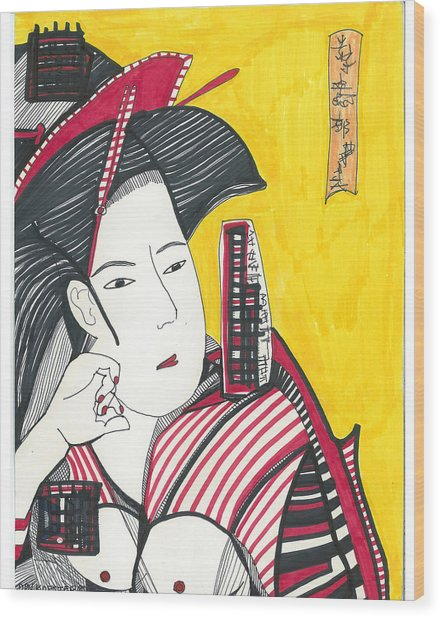 Geisha In Red And Black Wood Print