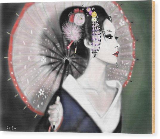 Geisha No.151 Wood Print by Yoshiyuki Uchida