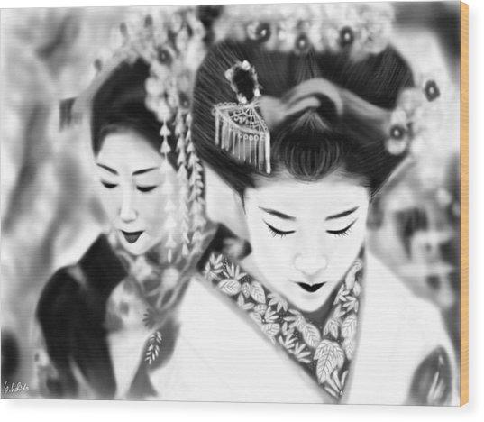 Geisha No.160 Wood Print by Yoshiyuki Uchida