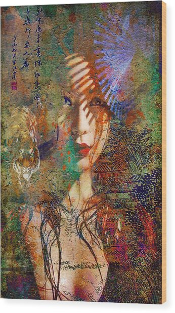 Geisha Print Wood Print