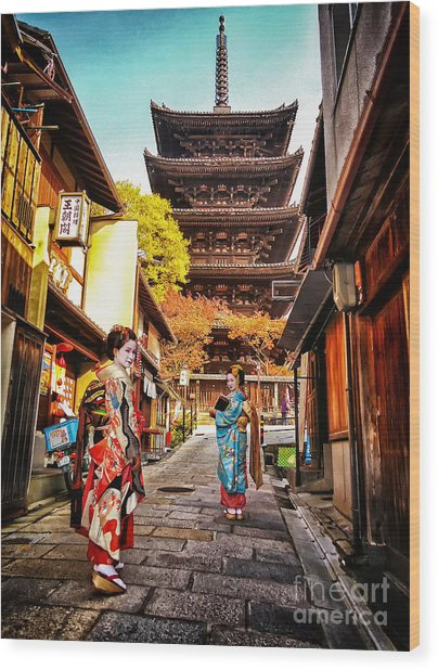 Geisha Temple Wood Print