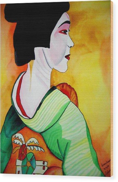 Geisha With Green Kimono Wood Print by Sacha Grossel