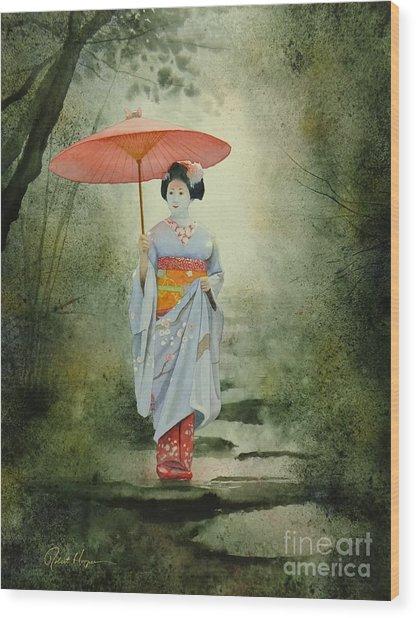 Geisha With Umbrella Wood Print