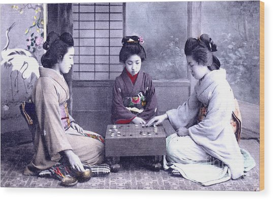 Geisha's Playing Game Wood Print