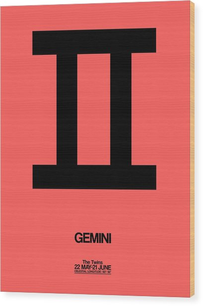 Gemini Zodiac Sign Black Wood Print