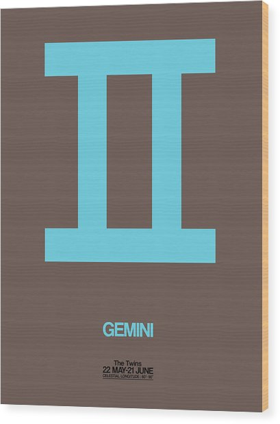 Gemini Zodiac Sign Blue Wood Print