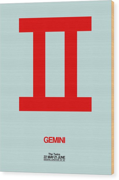 Gemini Zodiac Sign Red Wood Print