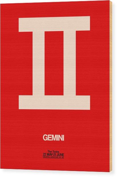 Gemini Zodiac Sign White On Red Wood Print