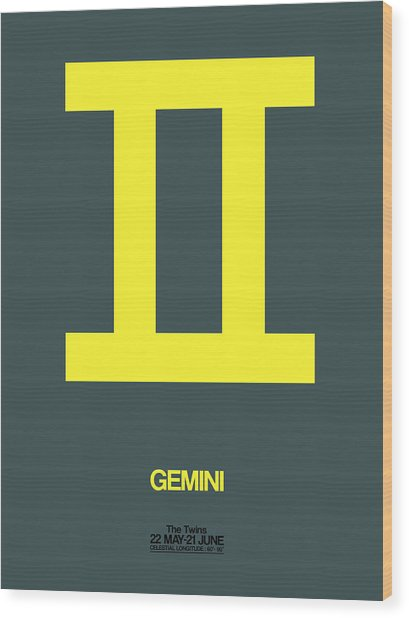 Gemini Zodiac Sign Yellow Wood Print