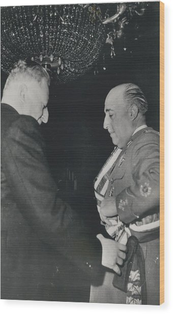 General Franco Decorated. Receives Garsnd Of The Omeyas - Wood Print by Retro Images Archive