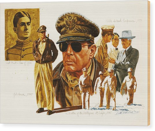 General Macarthur Wood Print