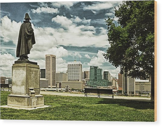 General Smith Overlooks Baltimore Harbor Wood Print