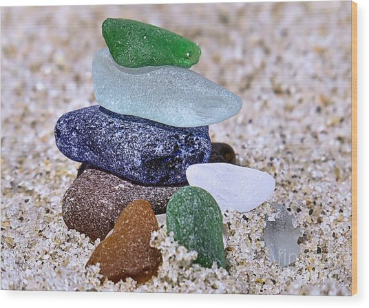 Genuine Sea Glass Wood Print